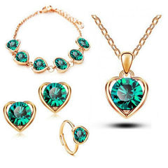 Gold & Silver Plated Crystal Heart Shape Jewelry Set- Earring Necklace Bracelet Ring
