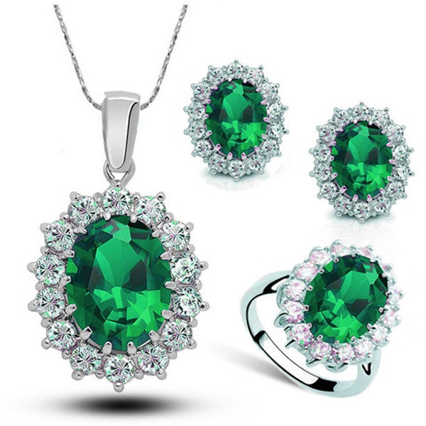 Clearance Platinum Plated Pendant Necklace/Earrings/Ring Set-Rama Deals