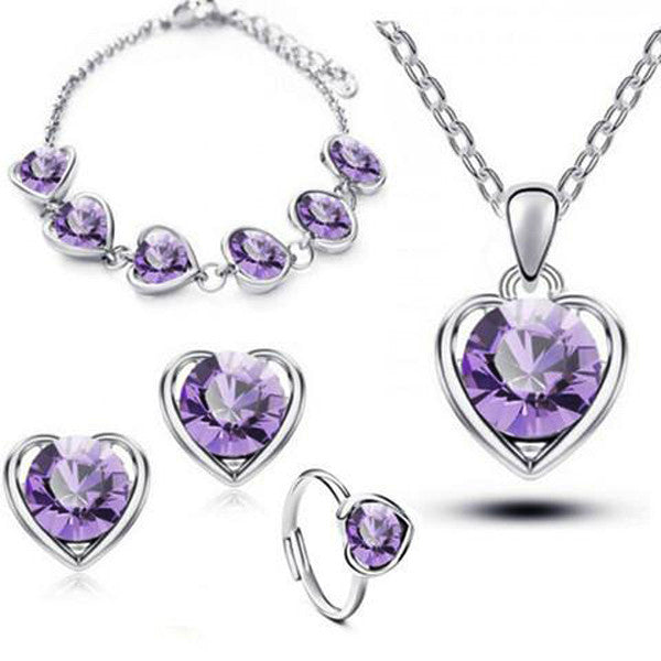 Clearance Gold & Silver Plated Crystal Heart Shape Jewelry Set- Earring Necklace Bracelet Ring-Rama Deals