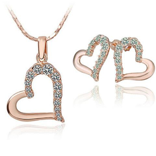 Clearance Gold Plating Jewelry Set Heart Shape Earring + Necklace-Rama Deals