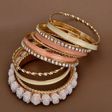 Flower Resin Enamel Alloy of Gold Color Bracelets and Bangles Set New Design for Women-Rama Deals