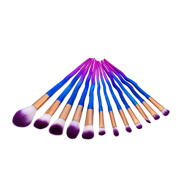 12 Pieces Rainbow Sword Shaped Make-up Brushes Set