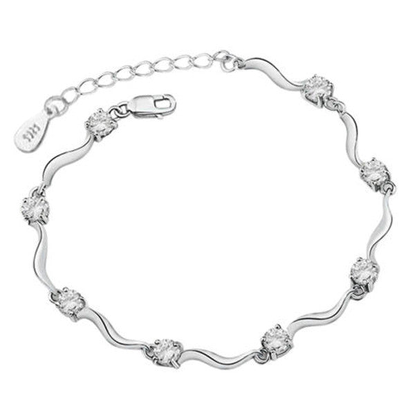 Clearance Bamboo Style Crystal Silver Bracelet-Rama Deals