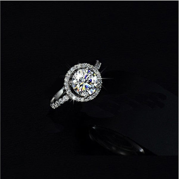 Sterling Silver 1/3 CTW White Topaz Round with Halo CZ Stones-Rama Deals