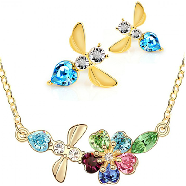 Clearance Austrian Crystals 18 k Gold Bee Jewelry Set - Earrings and Necklace-Rama Deals