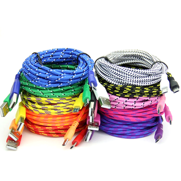 Clearance Extra Long (10 Ft) Fiber Cloth Sync & Charge USB Android Cable - Assorted Colors-Rama Deals