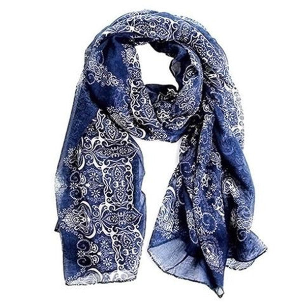 Clearance Blue and White Porcelain Silk Scarf-Rama Deals