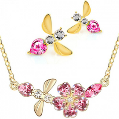 Austrian Crystals 18 k Gold Bee Jewelry Set - Earrings and Necklace