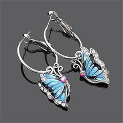 1Pair Blue Crystal Rhinestone Butterfly Dangle Earrings-Rama Deals