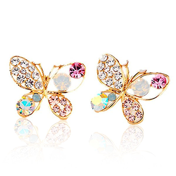 Clearance Colorful Crystal Simulated Pearl Butterfly Stud Earring-Rama Deals