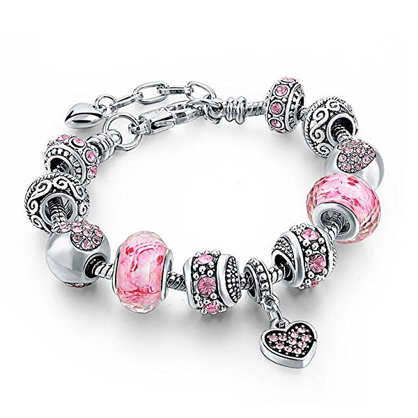 Clearance Mother Daughter Pink Charm Bracelet-Rama Deals