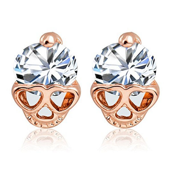 Clearance Rose Gold Skull Vintage Stud Earring-Rama Deals