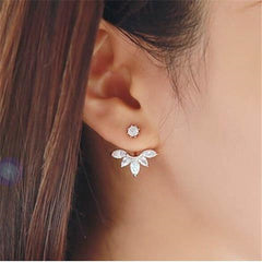 1 Pair Big Crystal Flower Stud Earrings