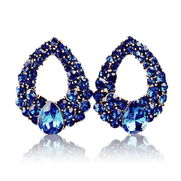 Clearance Natural Stone Dark Blue Earrings-Rama Deals
