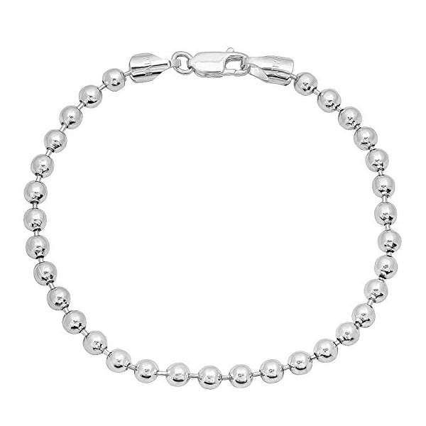 New 925 Sterling Silver Plated Beads String Chain Bracelet-Rama Deals