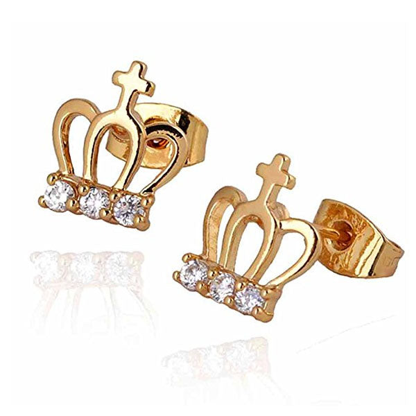 Clearance 18K Gold Plated Crown Earrings-Rama Deals