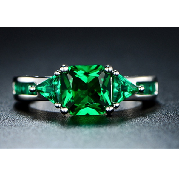 4.00 CTW Princess Cut Emerald Ring in 18K Gold White Plating-Rama Deals