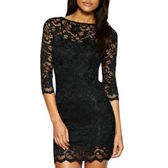 Women Bodycon Lace Dress Slash O-Neck Evening Dress-Rama Deals