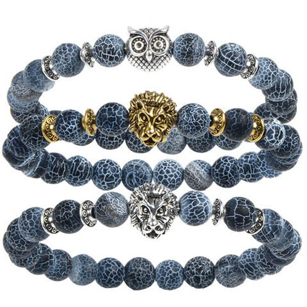Clearance Natural Stone Bracelet With Lion/ Owl-Rama Deals