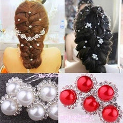 20pcs/set Silver Crystal White and Red Pearl Hair Pins-Rama Deals