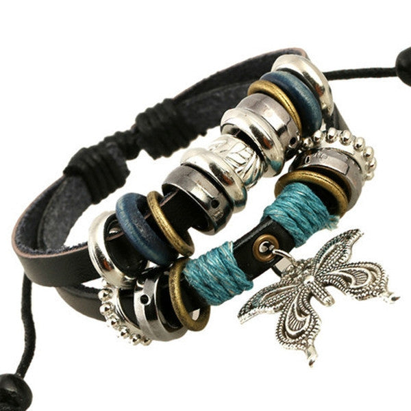 NEW Fashion butterfly Leather Charm Bracelet-Rama Deals