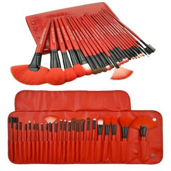 Clearance 24 Piece Royal Red Make Up Brush Set-Rama Deals