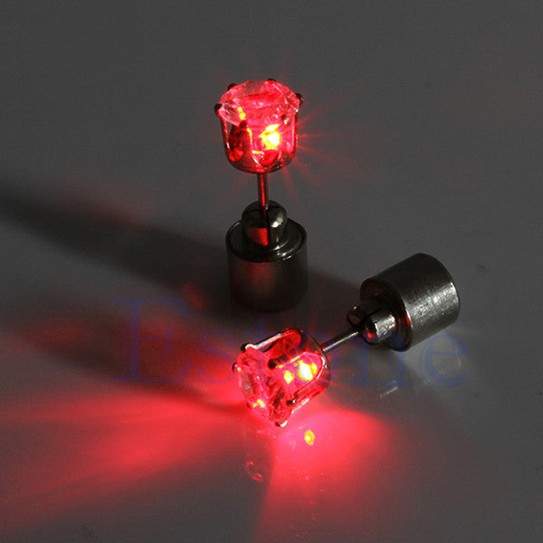 1 Pair: Light Up LED Bling Stud Earring-Rama Deals