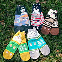 2 Pairs Lovely Dog Cartoon Socks for Women
