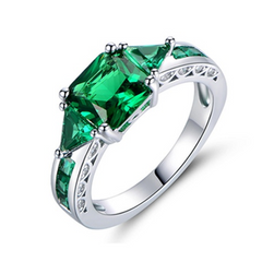 4.00 CTW Princess Cut Emerald Ring in 18K Gold White Plating