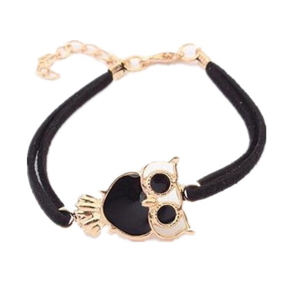 Womens Retro Animal Owl Decoration Faux Leather Charm Bracelet-Rama Deals
