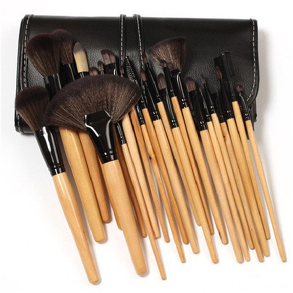 32 Piece Makeup Brush Set with Case IN BROWN-Rama Deals