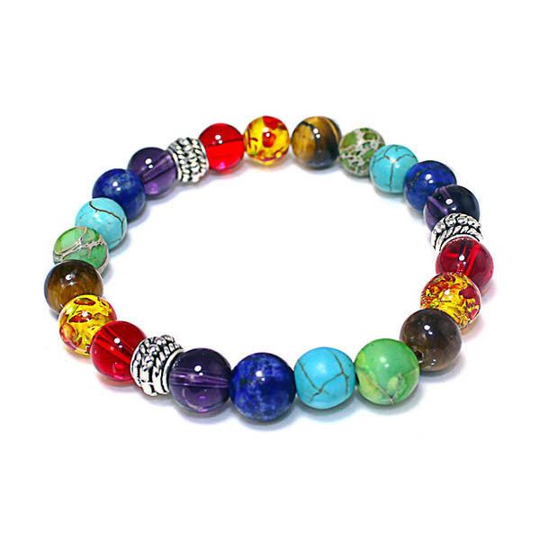 Mix Color Volcanic Stone Bead Bracelet-Rama Deals