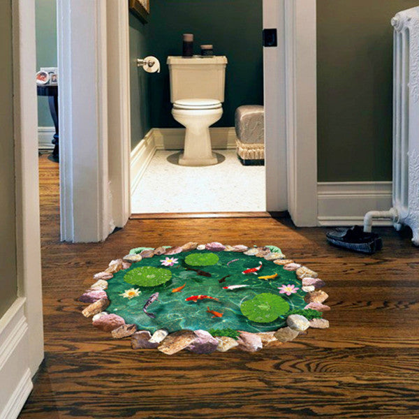 3D Wall Sticker Waterproof Lotus Pond Goldfish for Children Bathroom Personalized Floor Decor-Rama Deals
