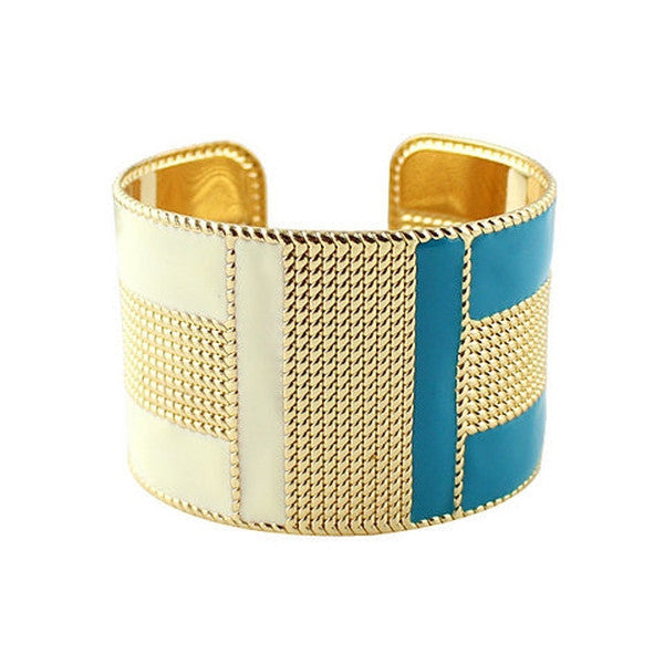 Personality Color Stripe Vertical Bar Opening Female Bracelet-Rama Deals