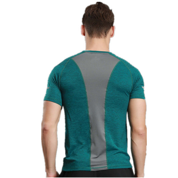 Round Collar Reflective Strip Loose Exercise Fitness T-shirt-Rama Deals