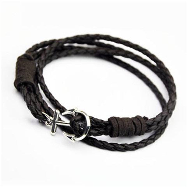 Clearance 40cm PU Leather Men Anchor Bracelet-Rama Deals