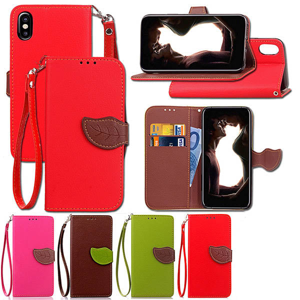 IPhone8 Case Litchi Pattern Leaf Buckle Card Holder with Lanyard-Rama Deals