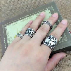 4pcs/Set Carved Antique Silver Elephant Totem Leaf Ring
