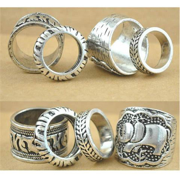 Clearance 4pcs/Set Carved Antique Silver Elephant Totem Leaf Ring-Rama Deals
