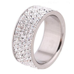 5 Series Lines Clear Crystal Jewelry Stainless Steel Rings