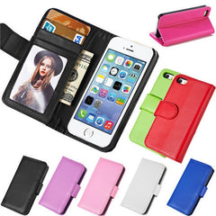 PU Leather Wallet Case for iPhone 5 5S - Rama Deals