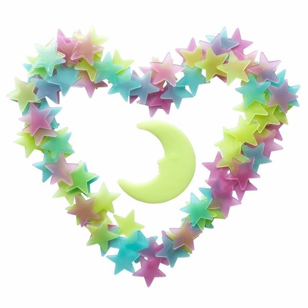 100 Peice Glow In The Dark Star Stickers-Rama Deals