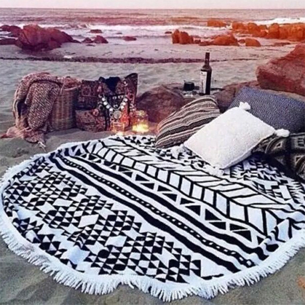 Mandala Round Black & White Mat - Rama Deals - 2