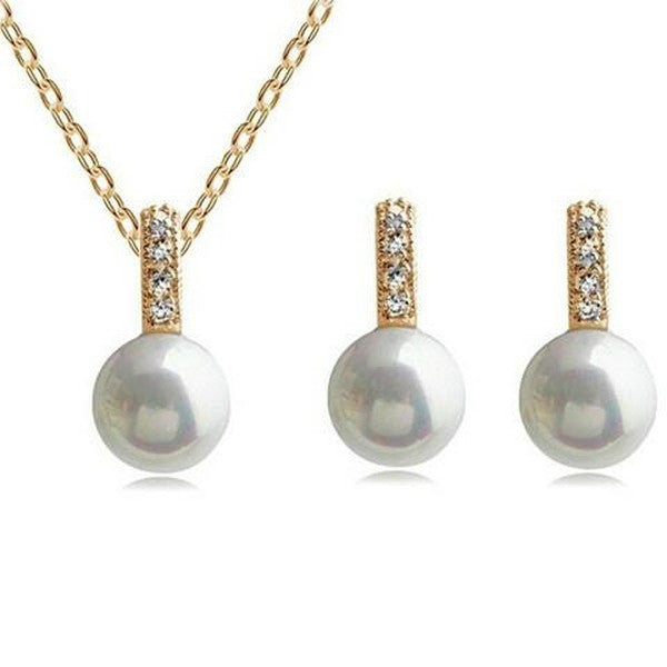 Bridal Pearl Jewelry Set - Necklace Earrings-Rama Deals