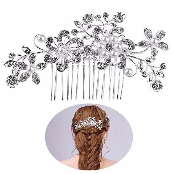 Bridal Wedding Flower Crystal Rhinestone Hair Comb Pin-Rama Deals