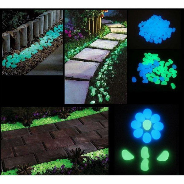 100 Glow in the Dark Pebbles for Walkways-Rama Deals