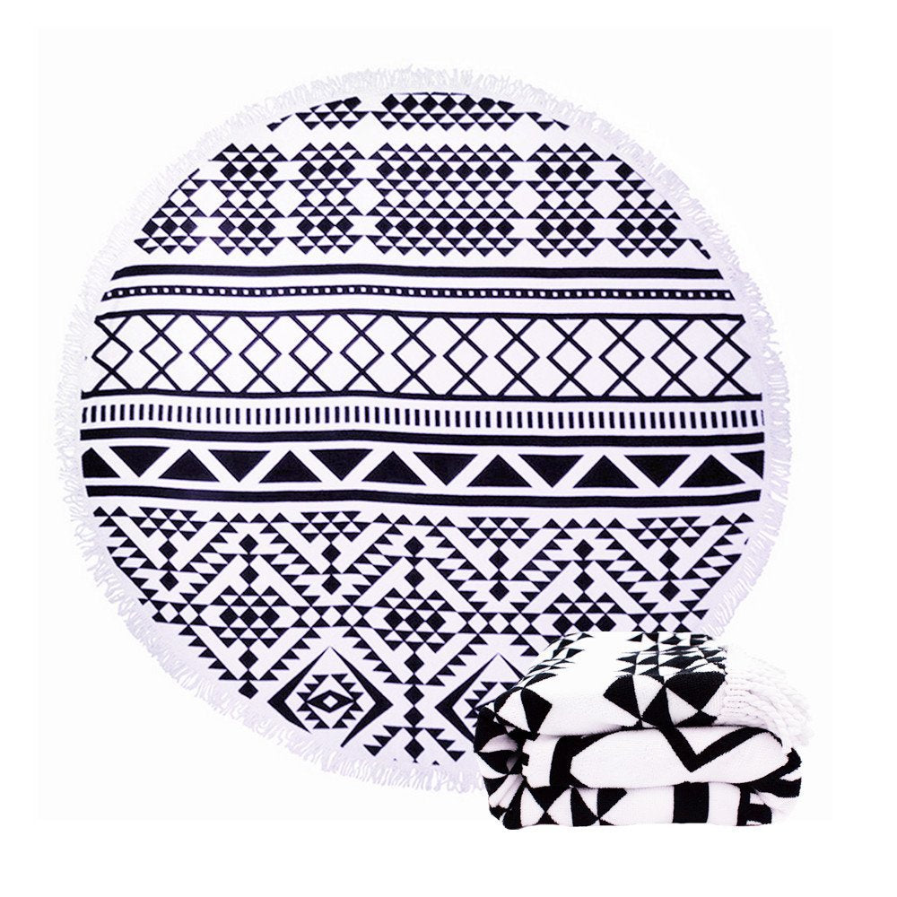 Clearance Mandala Round Black & White Mat-Rama Deals