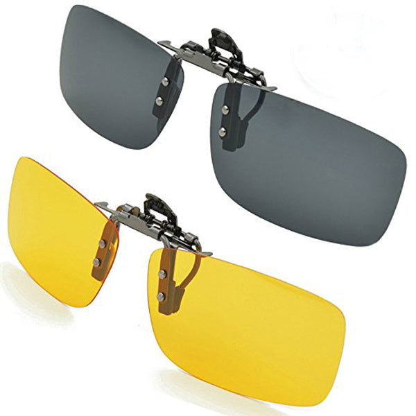 Clearance C73 Polarized Day Night Vision Clip-on Flip-up Sunglasses Lens-Rama Deals