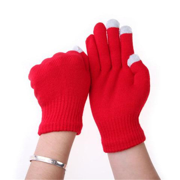 7 Colors Women Men Cotton Knitted Touch Screen Gloves-Rama Deals