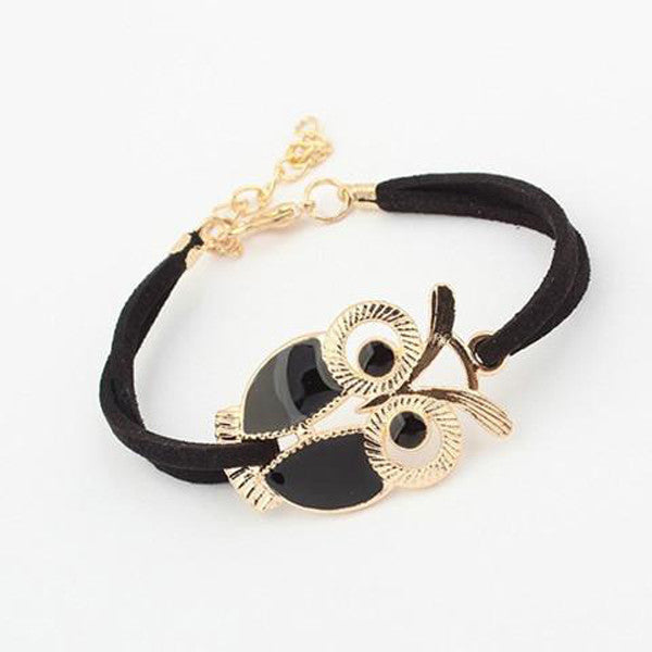 Women's Retro Animal Owl Decoration Faux Leather Charm Bracelet-Rama Deals